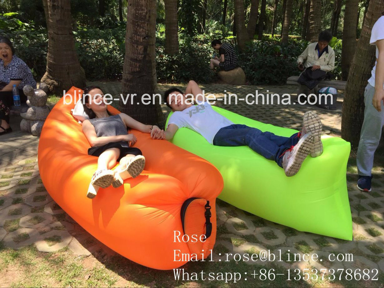 Shenzhen Sleeping Bag Nylon Fabric Custom Logo Hangout Sofa Air Lounge Sofa Bed