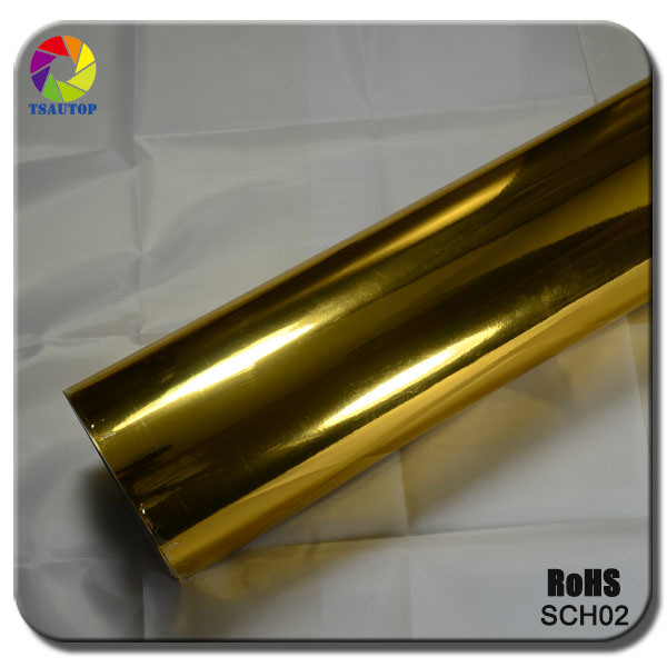 Tsautop 2015 Top Quality Golden Chrome Mirror Car Wrap Vinyl