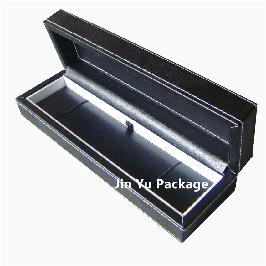 Black Wooden Faux Leather Jewelry Gift Packing Earring Case Box