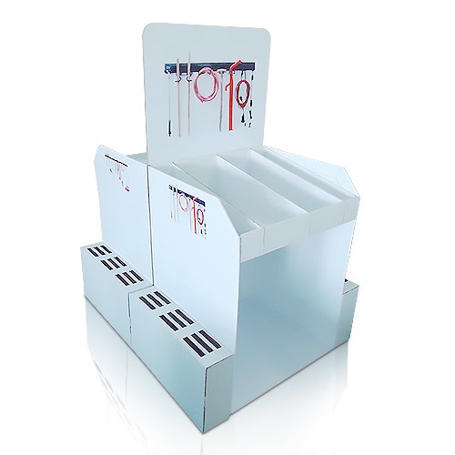 Point of Sale Corrugated Floor Display, Cardboard Standing Display Rack for Tools