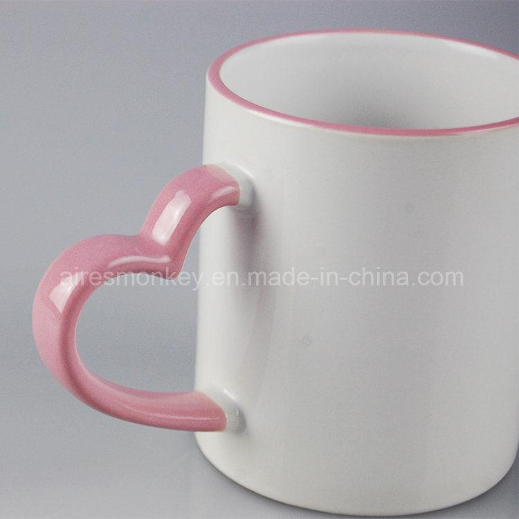 OEM Printed Ceramic Coffee Mug with Heart Handle