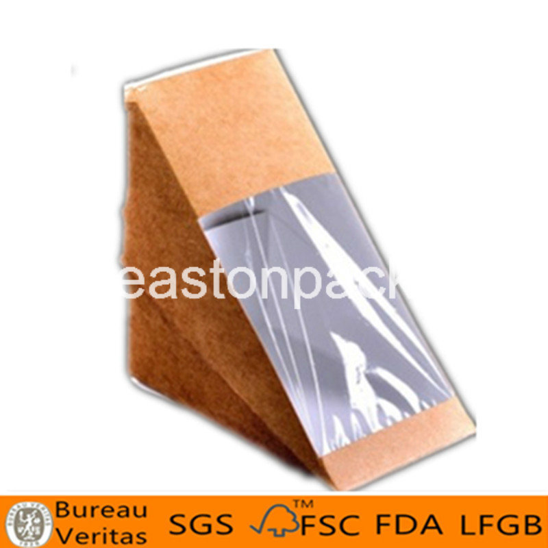 Eco Friendly Disposable Triangle Bigger Sandwich Packaging with Window