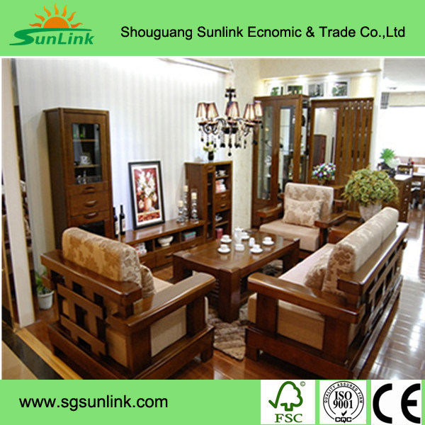 Walnut Solid Wood Kitchen Furnitures with Granite Countertop Kc-073