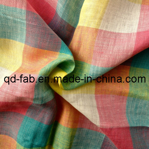 100%Linen Yarn Dyed Fabric (QF13-0753)