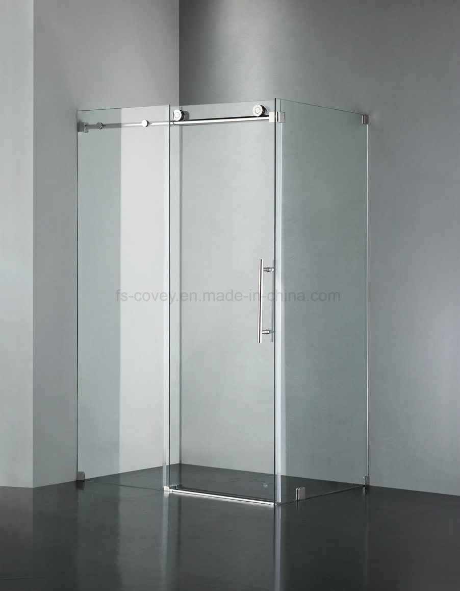 Sliding Bathroom Shower Door with Stainless Steel Wall Frame (UPC-03)