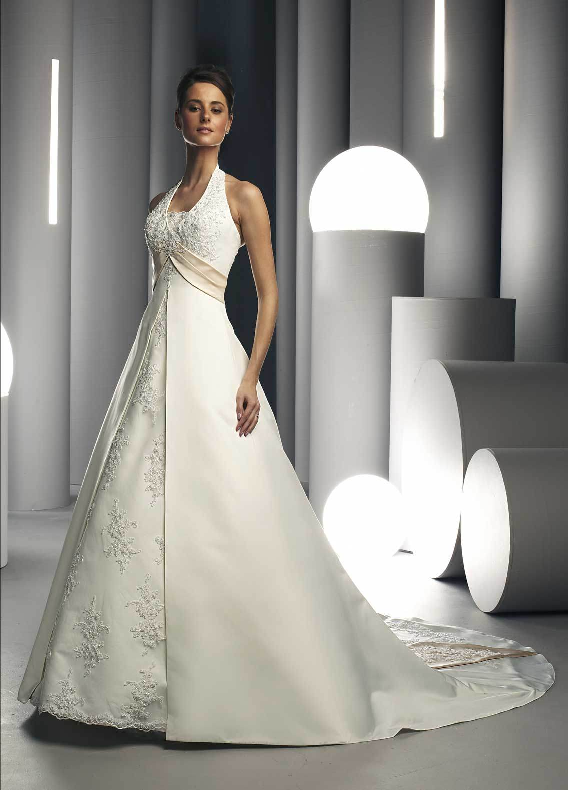 Halter Top A Line Wedding Dresses Overlay Wedding Dresses