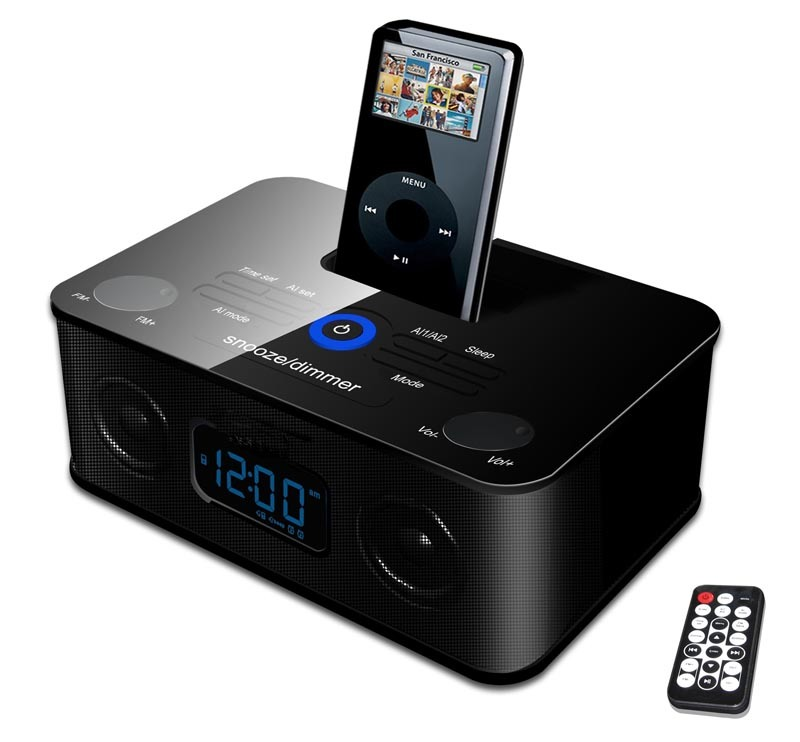 radio alarm clock and ipod dock gear 4 ipod dock pg434 b alarm clock radio fm am for ipod naxa. Black Bedroom Furniture Sets. Home Design Ideas