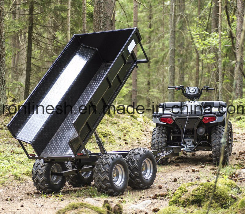 1500kgs/1.5t Load Capacity Farm Trailer/Dumper Trailer/Utility Trailer W Hydraulic Tipper/Tipping Device/Electrical Hydraulic Tipper Towed by ATV/Quad/UTV
