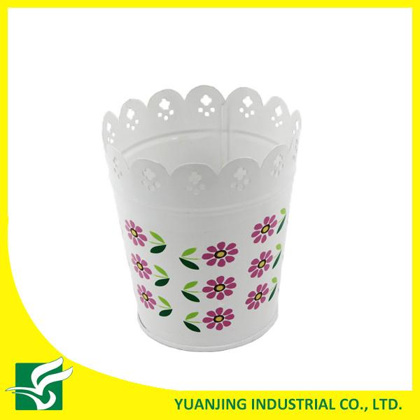 White Home Garden Metal Carved Flower Pot