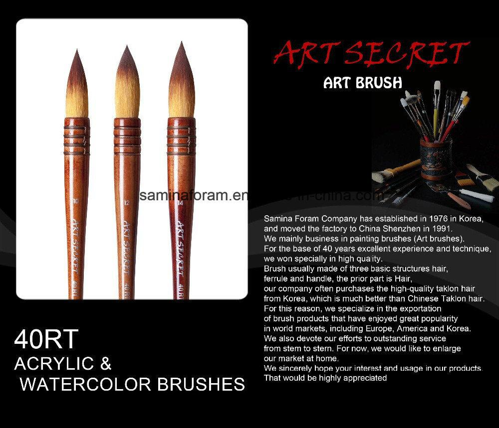 40rt Nylon Hair Wooden Handle Watercolor Artist Art Brush