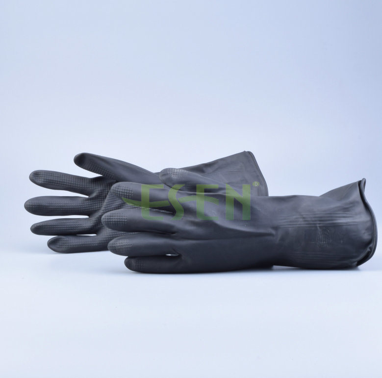 Rubber Glove--Black Color Chemical Resistant Industrial Latex Rubber Work Gloves