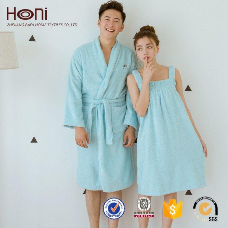 100% Cotton Bathrobe New Design Plain Couple Bathrobe Women and Men Bathrobe