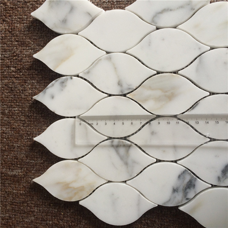 The Luxurious Leaf Design Calacatta Gold Marble Mosaic Tile for Home Decoration