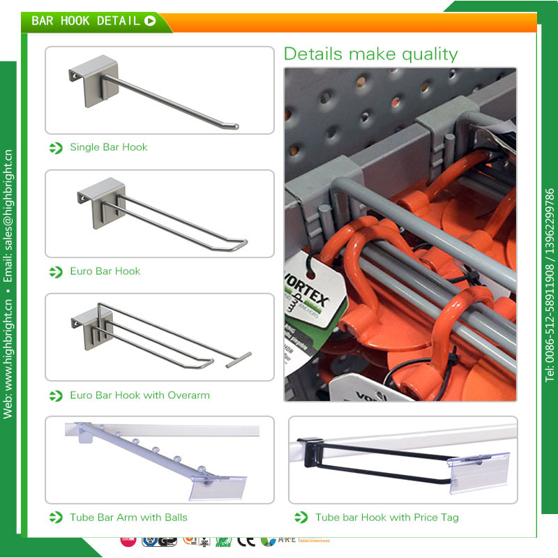 Shopfitting Chrome Pegboard Slatwall Display Hooks