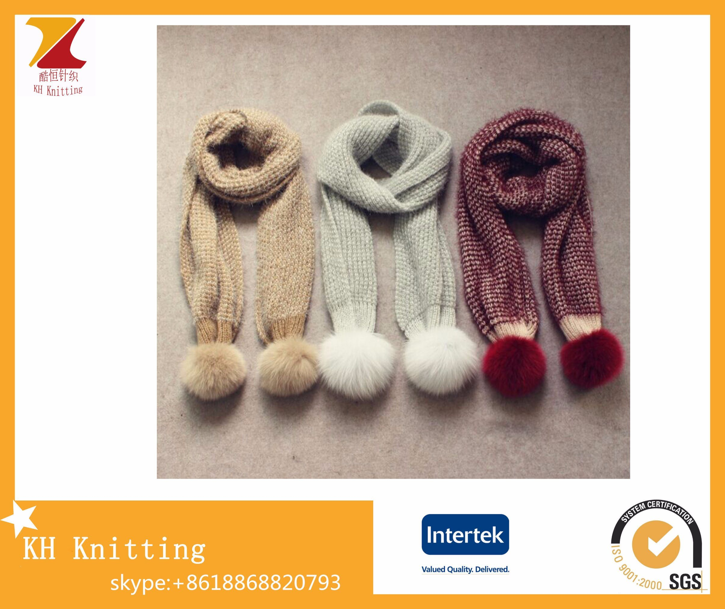 Fashion Winter Mohair Knitted Long Scarf with Fox Fur Ball
