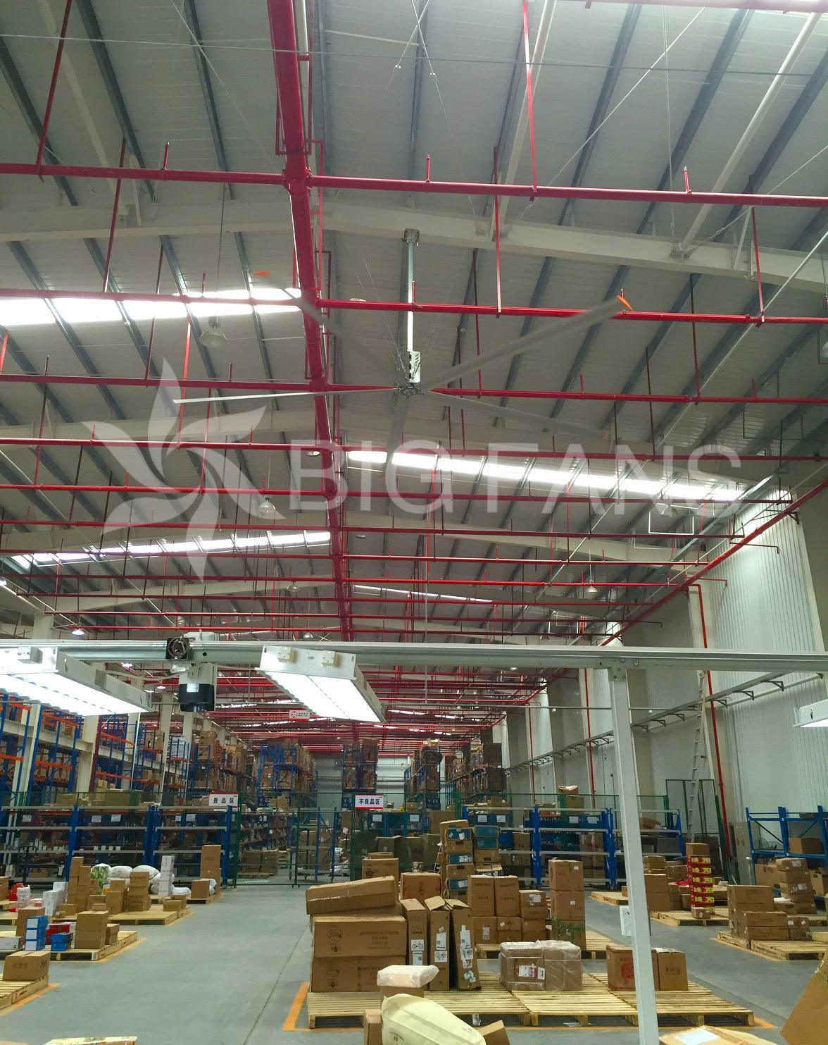 7.4m/24.3FT Use Ventilating Cooling Hvls Industrial Big Energy-Saving Plant/Warehouse Ceiling Fan