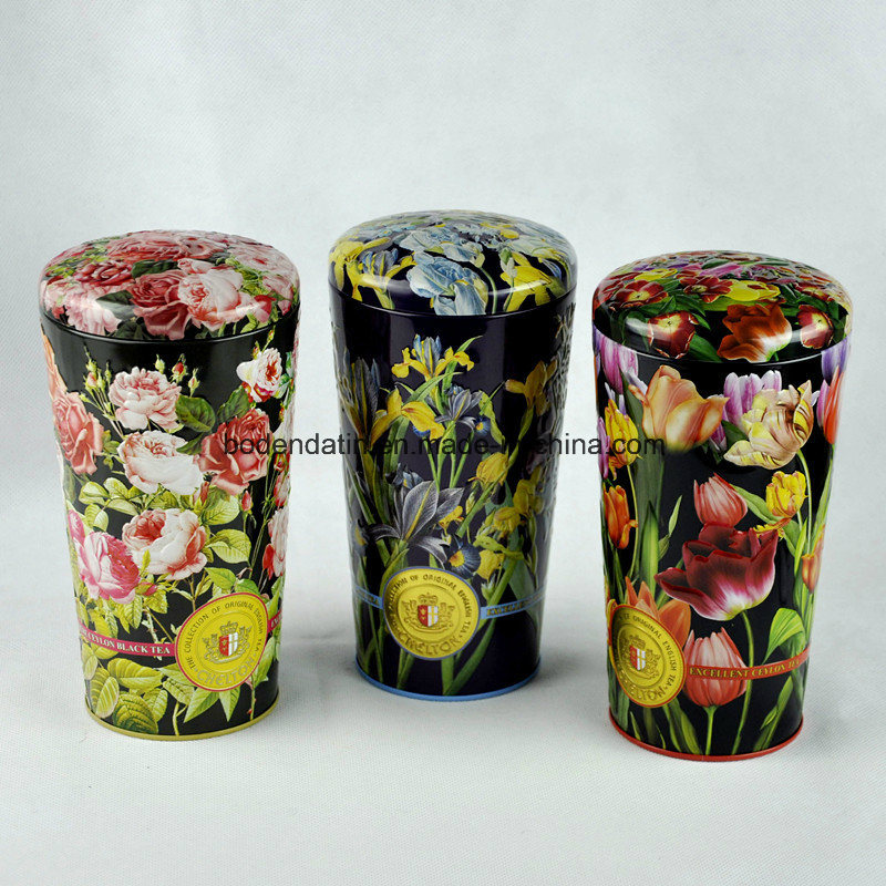 Custom Flower Vase Shape Tin Box for Tea