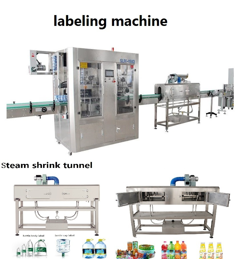 Automatic Double Heads Round Bottle Labeler Square Bottle Shrink Sleeve Labeling Machine for Bottle Body and Bottle Cap with Siemens Electricity
