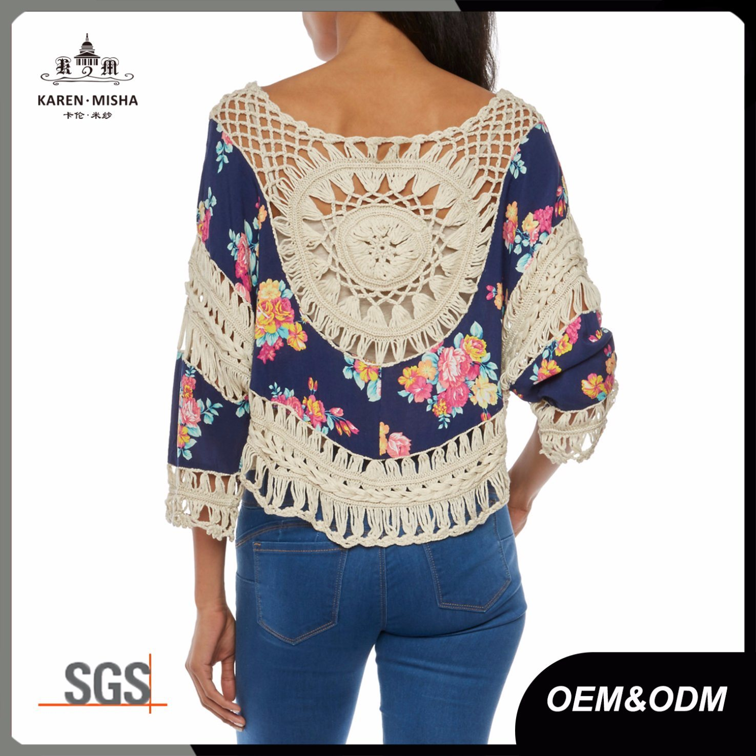 Ladies Boho Printed Handmade Crochet Blouse