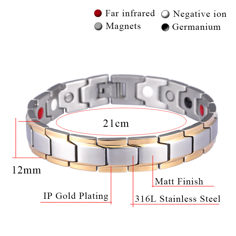New Fashion Men′s Germanium Steel Bracelet for Men Health Bio Energy Power Antifatigue Jewelry (10143)