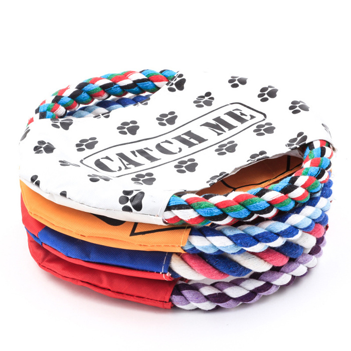 Custom Print Cotton Rope Flying Dog Frisbee with Waterproof Sheet