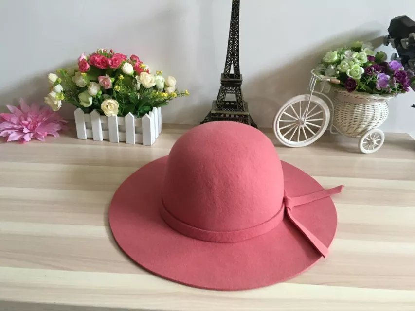 Woman Winter Promotional Wide Brim Hat with Bowknot
