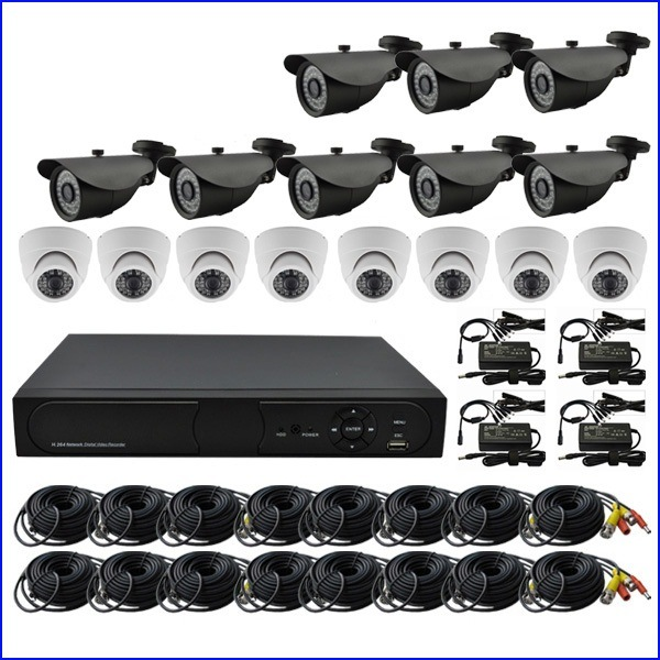 Including Cable and Power Supply 16CH Standalone DVR with 20m IR Camera CCTV System