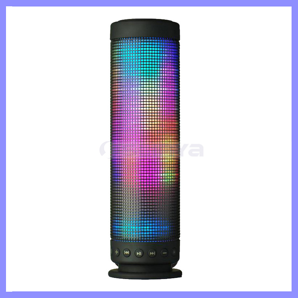 Rainbow Colors Pulse Portable Long Bluetooth Speakers Super Bass Wireless Sound Box Built-in Flash LED Light Speaker & Mic TF Aux USB Disck
