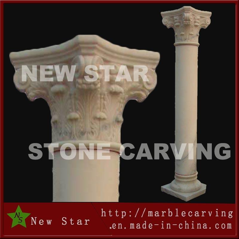 Hand Carved Decoration Stone Beige Pillar
