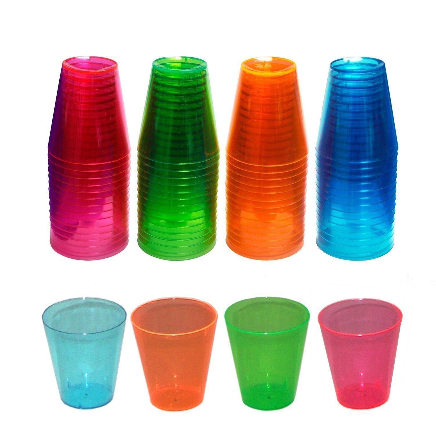 Party Essentials Round Clear Multicolor Ware Plastic Shot Glasses