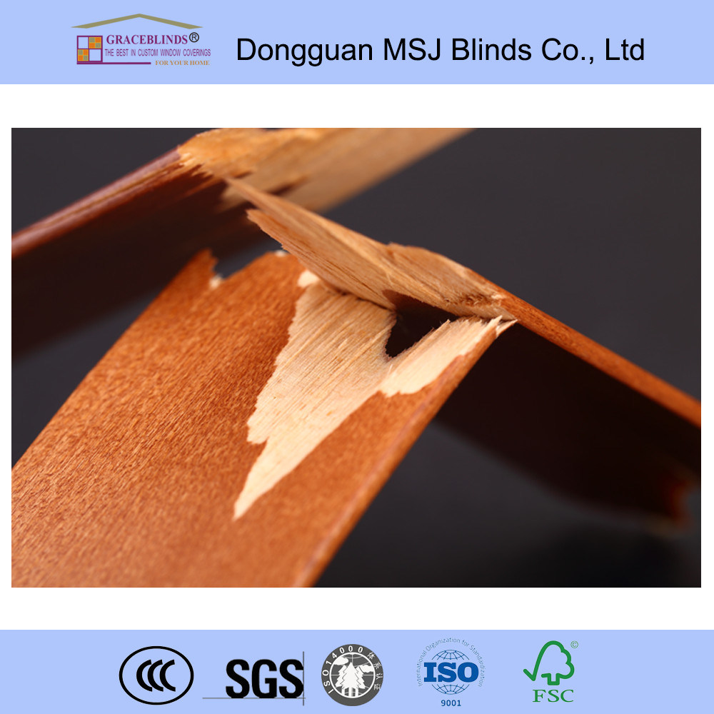High Profile Metal Head Rail Basswood UV Coating Blinds