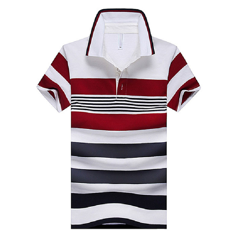 Fashion Srtipe Cotton Pique Men Polo Shirt