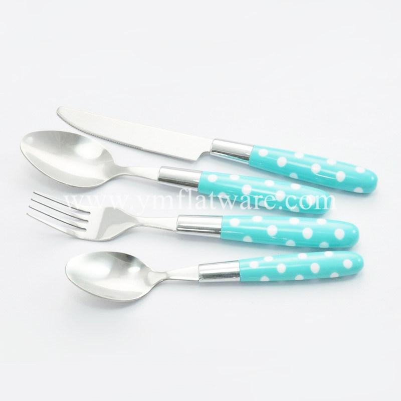 SGS, LFGB, Promotional Coloured Plastic Handle Stainless Steel Cutlery Set