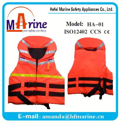 Orange Color Big Collar Full Size Foam Life Jacket