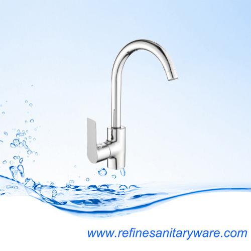 High Neck Ceramic Cartridge Sink Mixer Brass Kitchen Faucet (R7117117CY)