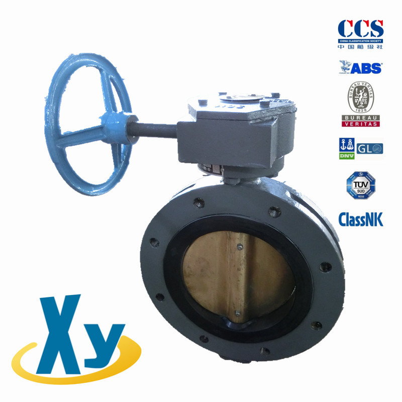 Marine Center Double Flanged Worm Butterfly Valve (Hand Wheel)
