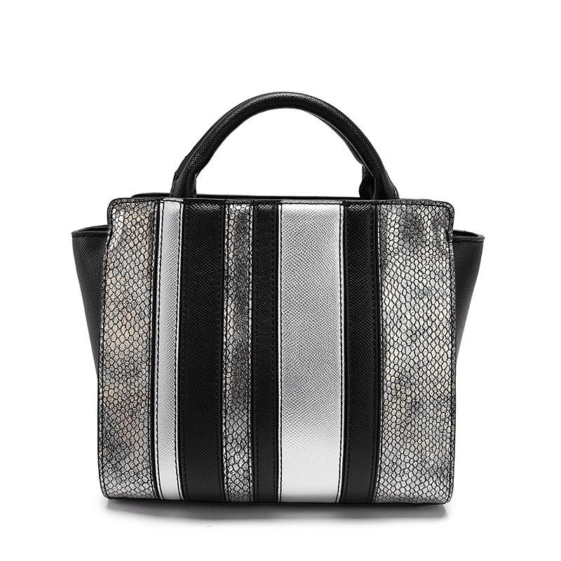 Fashion Brand Western Trendy Women Handbag Python Satchel Multi Tone Large Tote Bag