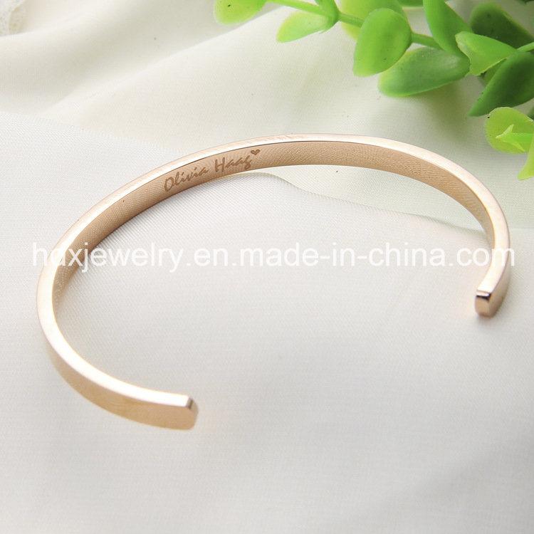 Custom Inspirational Jewelry Fashion Stainless Steel Open Cuff Bangle Bracelet
