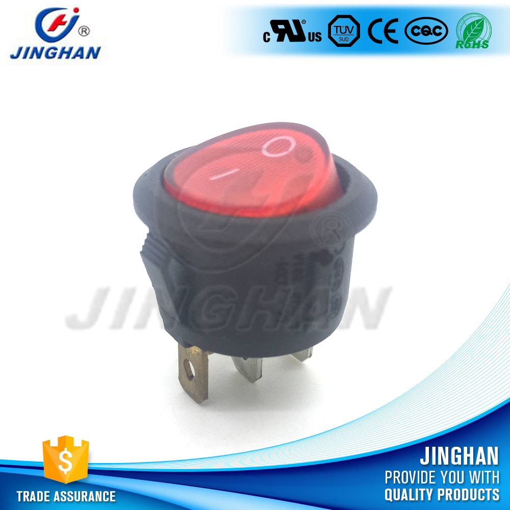Kcd1-201A/2pin/3pin Black Round Rocker Switch, on-on/on-off-on/on-off