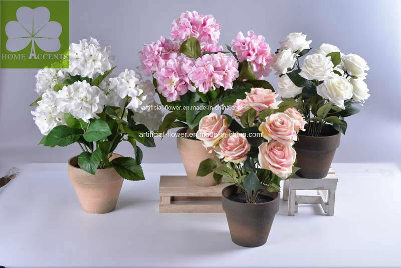 Artificial Hydrangea White in Paper Mache Pot for Home Deco