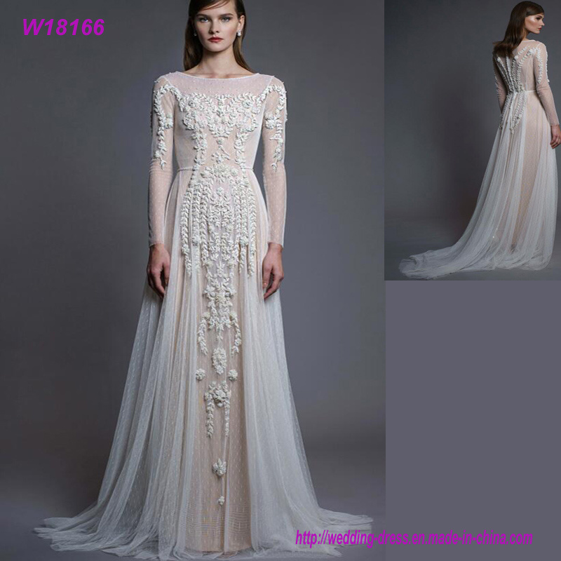 Latest Fashion Design Natural Color Lace Long Sleeve Wedding Dress