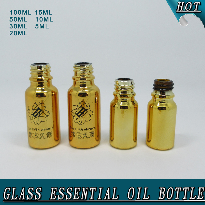 Hot Sale Electroplated Shiny Gold Glass Essential Oil Bottle