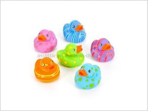 Six Color Stripe Vinyl Bath Duck