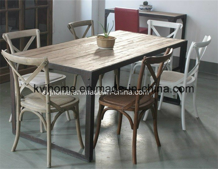Vintage Industrial Recalimed Wood Furniture Recycled Elm Dining Table