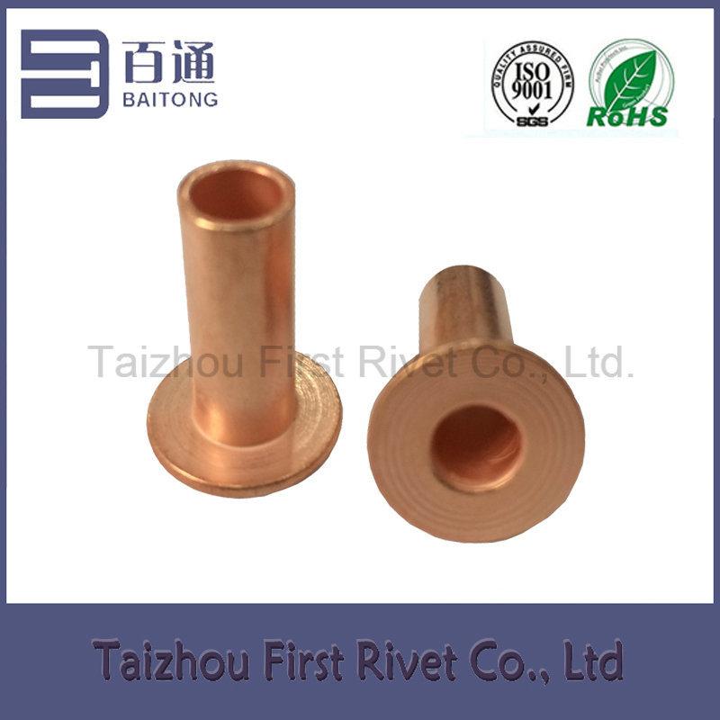 8X20mm Flat Head Full Tubular Steel Rivet Copper Plated