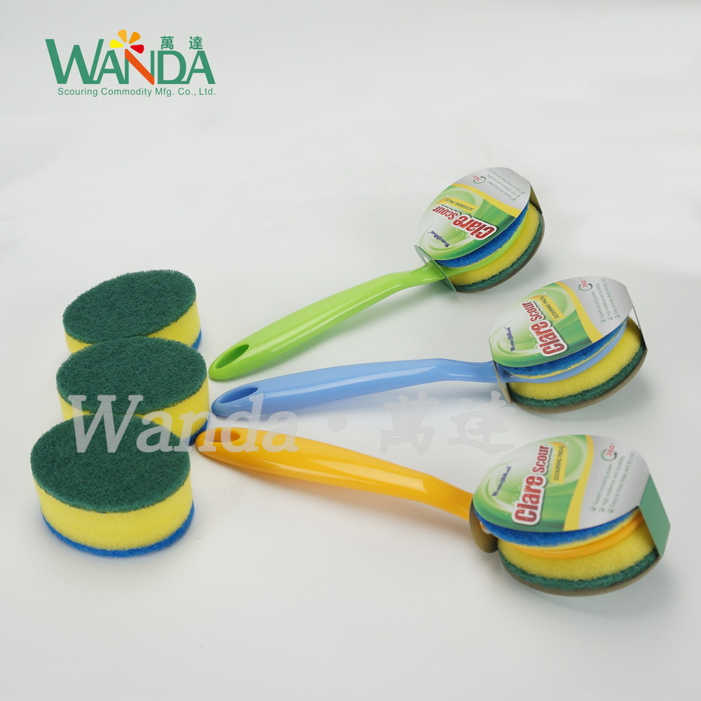 Double-Function Replaceable Scrub Brush Cleaning Sponge Brush with Handle