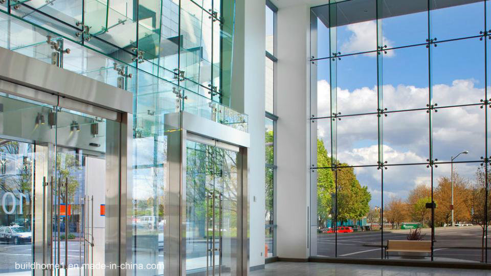 Modern Ladder Systems Frameless Low E Glass Curtain Wall