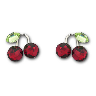 Cherry Earrings on Fruity Red Cherry Crystal Pierced Earrings