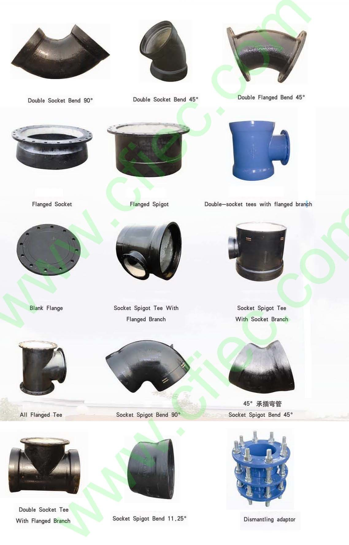 China ductile cast iron pipe fittings dn mm