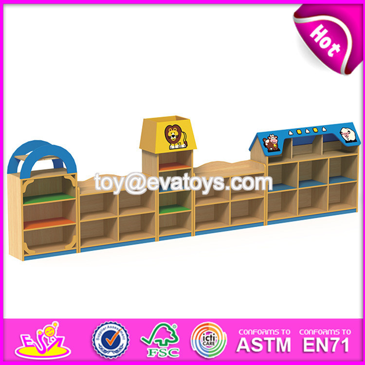High Quality Kindergarten Toy Storage Furniture Cartoon Wooden Kids Storage Furniture W08c209